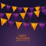 Bright orange and purple halloween festival bunting Stock Photos