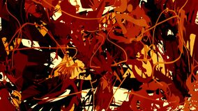 Bright orange and red paint strokes on a light background