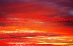 Bright orange, red and yellow colors sunset sky. Royalty Free Stock Photography