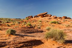 Orange sandstone desert and rock formations near Grand Canyon, Arizona Royalty Free Stock Photo