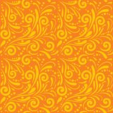 Bright orange seamless ornamental pattern for design Stock Photos