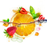 Bright orange and strawberry fruit Stock Photos