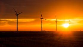 Bright Orange Sunrise Signal Peak Wind Turbines Washington Green Stock Photography