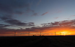 Bright Orange Sunrise Signal Peak Wind Turbines Washington Green Royalty Free Stock Photo