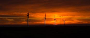 Bright Orange Sunrise Signal Peak Wind Turbines Washington Green Stock Image