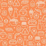 Orange seamless pattern with japanese cuisine Royalty Free Stock Photography