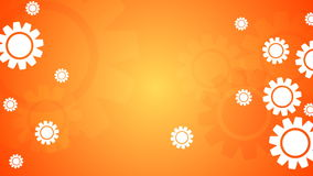 Bright orange video animation with gears icons stock video