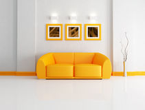 Bright orange and white living room Stock Photos