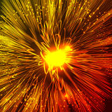 Bright orange and yellow fire explosion . Abstract fireworks at dark space background. Cosmic illustration for posters, flyers, covers, web presentations Royalty Free Stock Photography