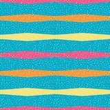 Bright orange, yellow and pink horizontal polygon stripes with random dots . Seamless vector pattern on sky blue. Background. Great for wellness, beauty vector illustration