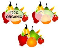 Bright Organic Food Labels. A clip art illustration of a group of bright and colorful organic food labels including banana, orange, kiwi, strawberry, pear and Royalty Free Stock Photo
