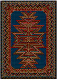 Bright oriental carpet with original pattern on a blue background Stock Photos