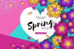 Free Bright Origami Spring Sale Flowers Banner. Paper Cut Exotic Tropical Floral Greetings Card. Spring Blossom. Love Heart Royalty Free Stock Image - 107785316