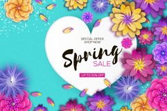 Free Bright Origami Spring Sale Flowers Banner. Paper Cut Exotic Tropical Floral Greetings Card. Spring Blossom. Love Heart Royalty Free Stock Image - 107785356