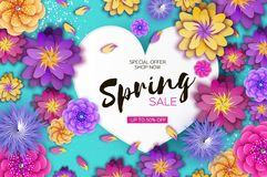 Free Bright Origami Spring Sale Flowers Banner. Paper Cut Exotic Tropical Floral Greetings Card. Spring Blossom. Love Heart Royalty Free Stock Photography - 108429837