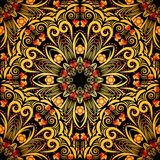 Bright ornament in style khokhloma. Seamless background of circular patterns. Vector illustration stock illustration