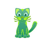 Bright ornamental green cat, vector Stock Images