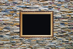 Bright ornamental stone wall with frame Stock Photos