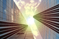 Bright outlook for business. Modern office block with sunny beau Royalty Free Stock Image