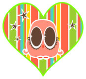 Bright Owl. Illustration of a bright colored owl set inside a heart design royalty free illustration