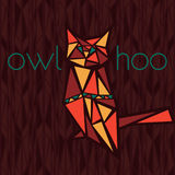 Bright owl. Character stylized owl. On seamless pattern background Stock Photography