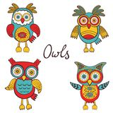 Bright owls set Stock Photography