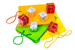 Bright packages and boxes for Christmas and New Year gifts. Studio Photo. Bright packages and boxes for Christmas and New Year gifts Stock Image