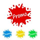 Bright paint splash tag with promo, stock vector illustration. Eps 10 vector illustration