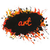 Bright paint spot with splashes and text art. Can be used like template, design element, background, etc Stock Images