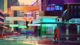 bright painted cityscape future. man standing on the street