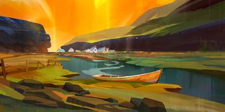 Bright painted landscape with boat and houses royalty free stock images