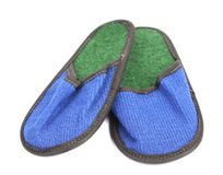 Bright pair of blue slippers. Stock Photography
