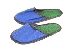 Bright pair of blue slippers. Stock Photo
