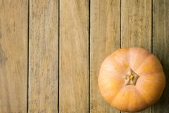 Bright Pale Orange Peachy Heirloom Pumpkin on Plank Wood Background. Copy Space for Text. Thanksgiving Harvest Autumn. Fall. Holiday Seasonal Poster Banner royalty free stock photos