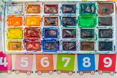 Bright palette of colors for children`s creativity stock photography