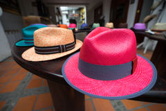 Bright panama hats in Ecuador Stock Image