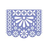 Bright paper with cut out flowers and geometric shapes. Papel Picado vector template stock illustration