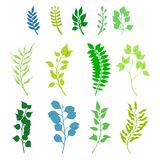 Bright paper cut set of green plants and leaves. stock images