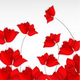 Bright paper-cut style red flowers field on white background. 3D vector, card, happy, spring, summer, love, flora. Design, mother day, Valentine`s, wedding Royalty Free Stock Photo