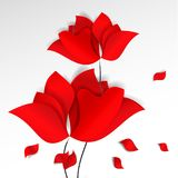 Bright paper-cut style red flowers, flying petals white background. 3D vector, card, happy, spring, summer, love, flora stock illustration