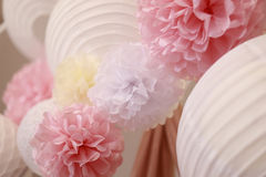 Bright paper flowers and chinese lantern Stock Photo