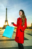 Modern woman in front of Eiffel tower with shopping bag Stock Image