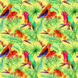 Bright parrot birds, tropical tree, jungle exotic flowers - bird of paradise flower, orchid. Seamless pattern. Bright parrot birds, tropical tree and jungle Stock Photography