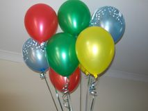 Bright Party balloons floating stock images