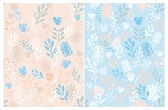 Hand Drawn Cute Floral Vector Patterns Set. Ligh Blue and Salmon Pink Backgrounds. stock illustration