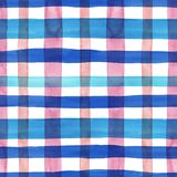 Bright pastel pink and blue plaid checkered seamless pattern. Watercolor stripes and lines on white background. Kilt print. Watercolor plaid seamless pattern stock images