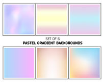 Bright pastel smooth blurred gradients vector backgrounds. Set of six abstract bright pastel smooth blurred gradients vector backgrounds for design Stock Image