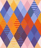 Bright patchwork pattern from different rhombus patches with geometric ornament. Seamless vector illustration royalty free illustration