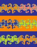 Bright patchwork pattern. Seamless waves with paisley birds. Royalty Free Stock Photo