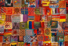 Bright Patchwork Quilt. Colorful and Cheery Patchwork Painting royalty free stock photography